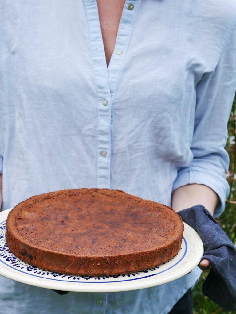 Schokoladenkuchen mit Birnen
