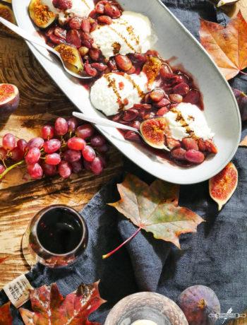 Ricottamousse mit Wein - Trauben
