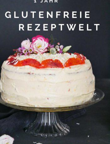 Glutenfreie Nuss-Torte mit Blutorangen und weißen Schokoladencreme-Frosting