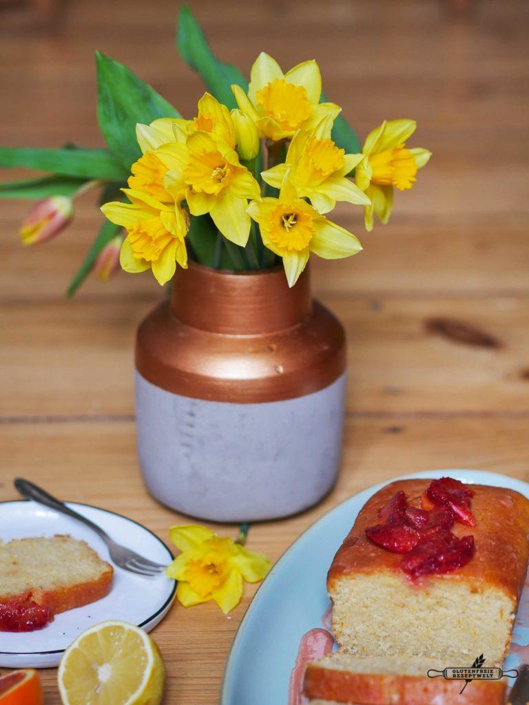 Glutenfreier Zitronenkuchen mit Blutorangen Zuckerguss