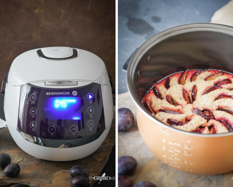 saftiger Pflaumenkuchen mit Marzipan, glutenfrei