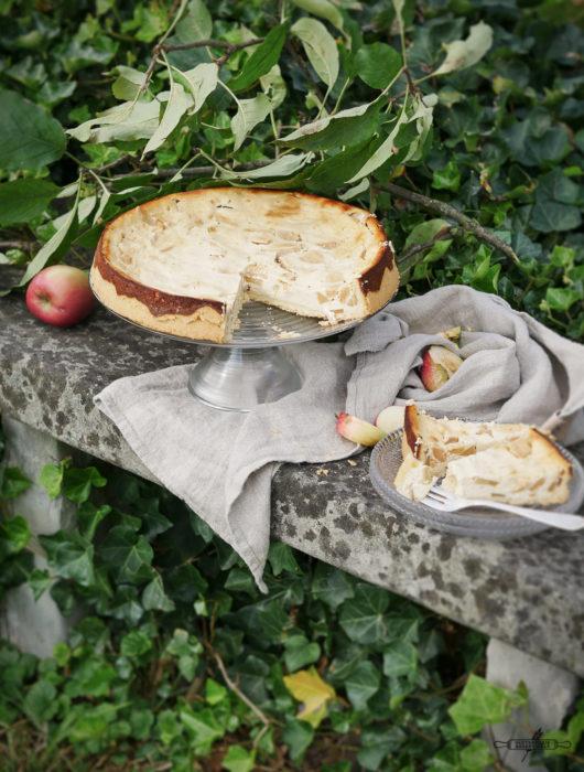 Glutenfreier Apfelkuchen mit Zimt - Quark Füllung
