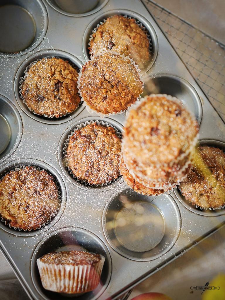pfel-Zimt Muffins mit Schokolade, glutenfrei