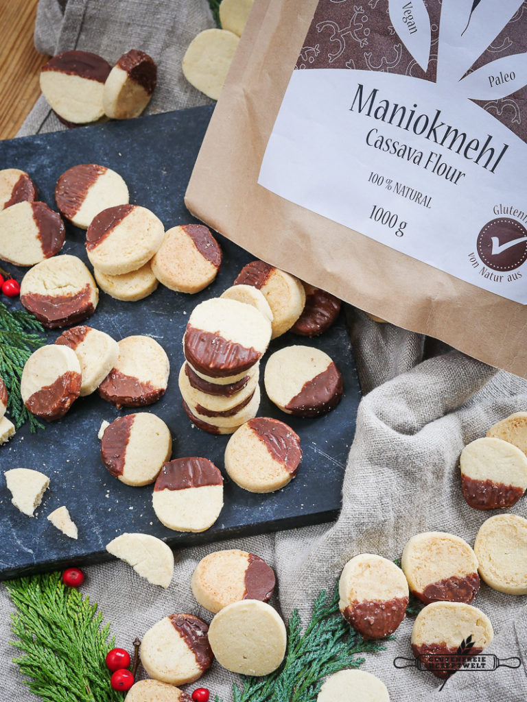Glutenfreie Heidesand Plätzchen mit Marzipan- Maniokmehl