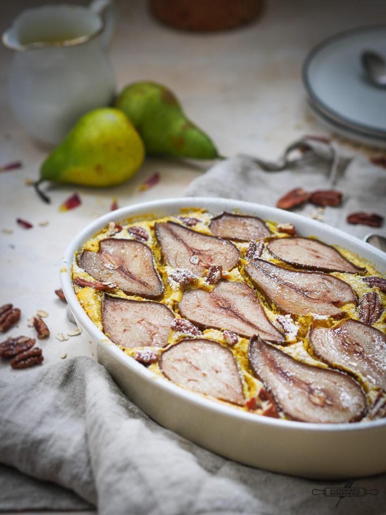 Glutenfreier Haferflocken - Quark Auflauf mit Birnen und Zim