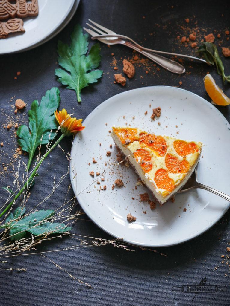 Mandarinen - Käsekuchen mit Spekulatius-Boden, glutenfrei