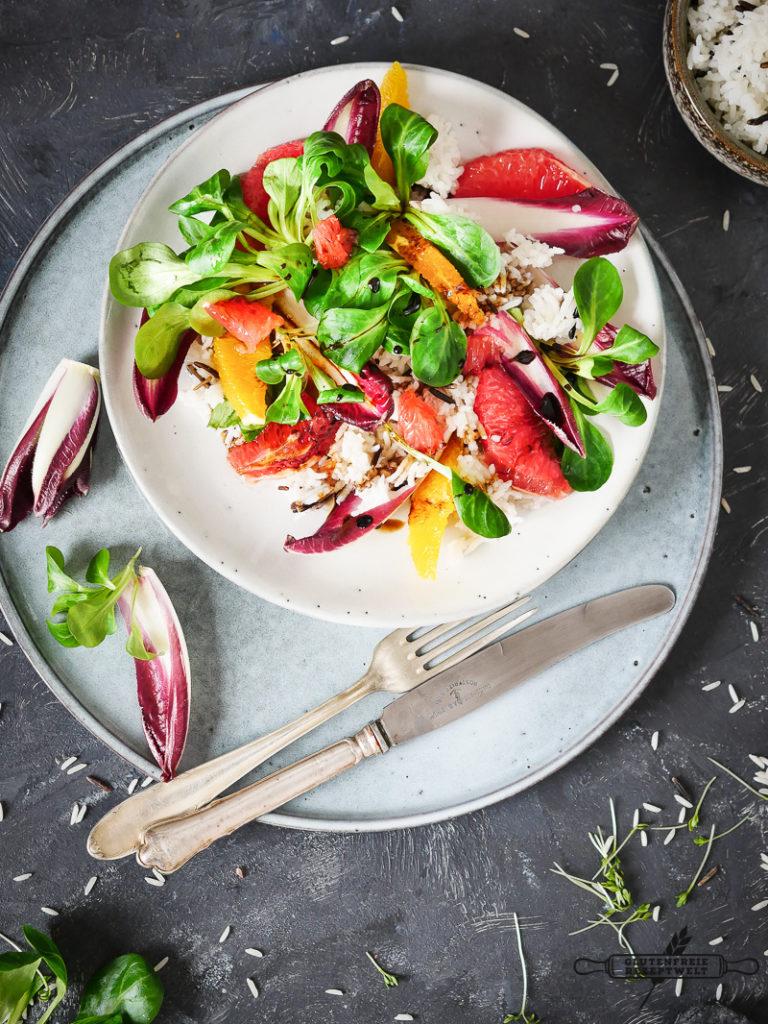 Reissalat mit Grafruit, Feldsalat und Kresse-