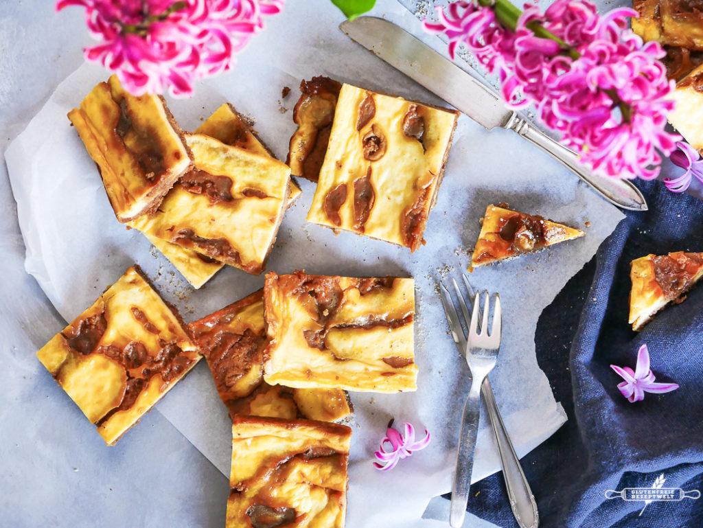 Käsekuchen Schnitten mit Karamell, glutenfre