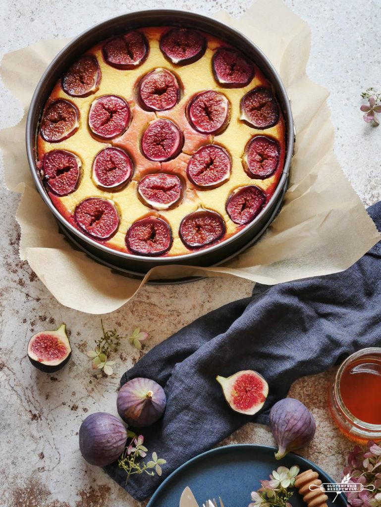 Feigen, Joghurt Polenta Kuchen mit Honig